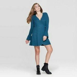 Xhilaration Long Sleeve V-Neck Wrap Mini Dress